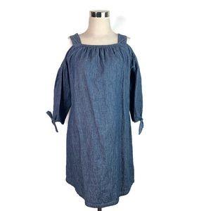 Madewell Blue Chambray Cold Shoulder Denim Dress